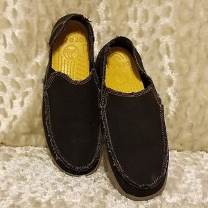 Crocs Canvas Raw Edge Black Loafers